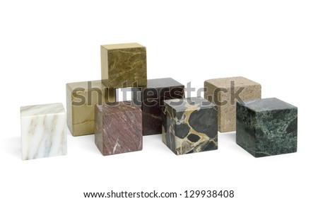 some marbled stone cubes in white back - stock photo