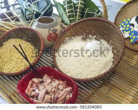 some materials to make a Vietnamese chung cakes