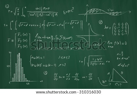 Some mathematical equations on a blackboard/Mathematics - stock photo
