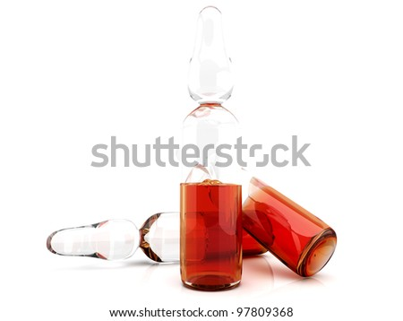Some medical Ampules. 3D rendered illustration. Isolated on white. - stock photo