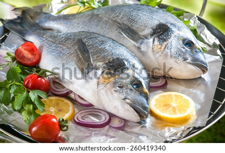Some of Gilthead sea breams with the vegetables on a grill - stock photo