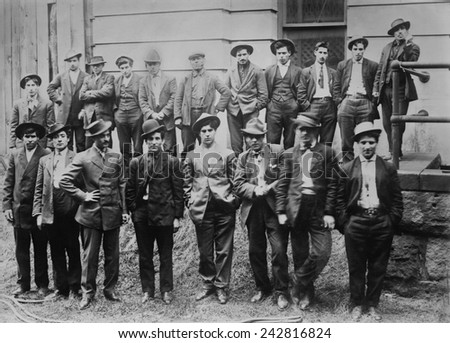 Some of the 100 Italian and Slavic coal miners arrested following a strike riot in which a constable, William Riggs, was killed in Feb. 1915 in Fairmont, West Virginia. - stock photo