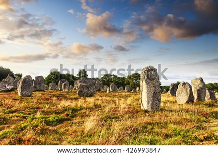 Some of the 3000 standing stones at Carnac, Brittany, France. It is believed that these stones were placed in position around 5000 years ago.