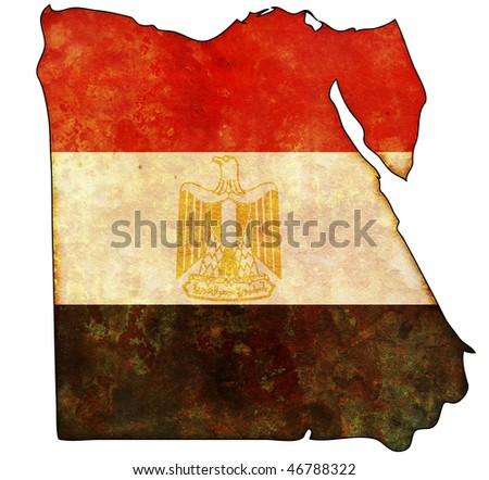 some old vintage map with flag of egypt - stock photo