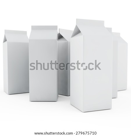 some packings of milk without inscriptions on a white background - stock photo