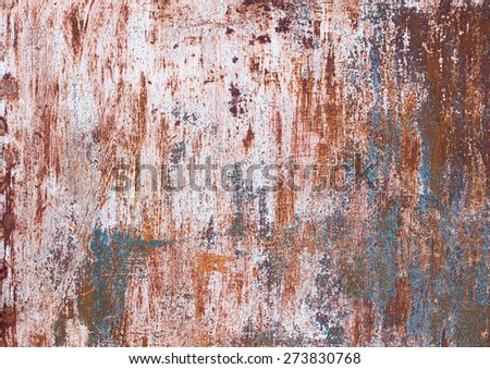 Some painted with several layers of old iron sheet with rust stains. textural composition - stock photo