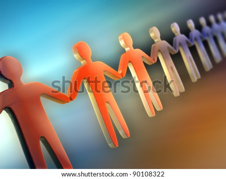 Some people icons holding their hands and forming a long chain. Digital illustration. - stock photo