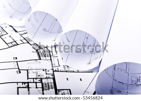 some plans in one row - stock photo