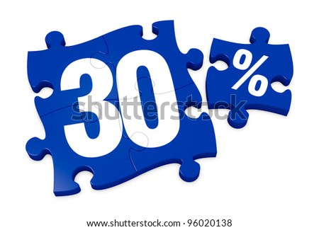 some puzzle pieces with the number 30 and the percent symbol (3d render) - stock photo