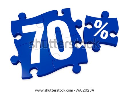 some puzzle pieces with the number 70 and the percent symbol (3d render) - stock photo