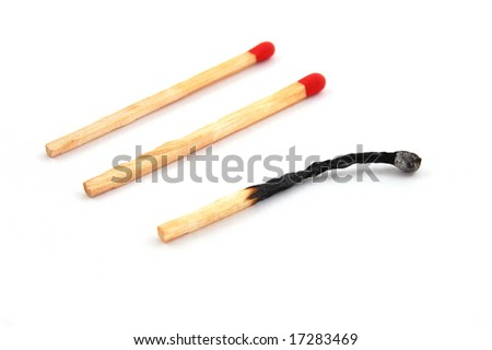 Some red matches isolated on a white background.