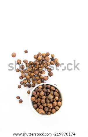some roasted chestnuts isolated oin a white background