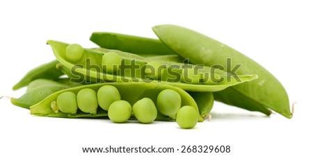 some snap peas on white background  - stock photo