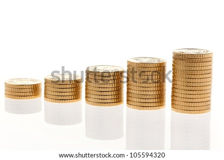 some stacks of coins on white background �¢â���¬ - stock photo