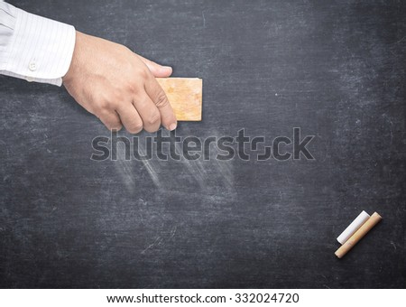 Some TEXT being erased from a chalkboard. Blank for enter your text. Change concept. - stock photo