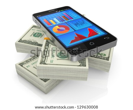 some us dollars stacks with a cellphone with financial app (3d render) - stock photo