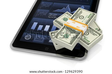 some us dollars stacks with a tablet pc with financial app (3d render)