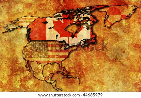 some very old grunge map of canada