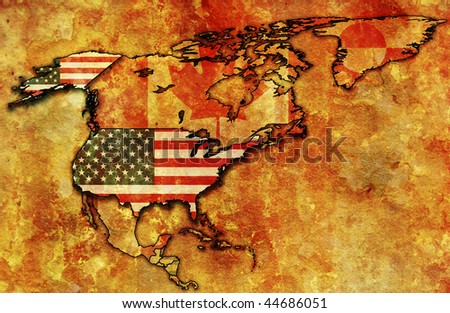 some very old grunge map with flag of usa