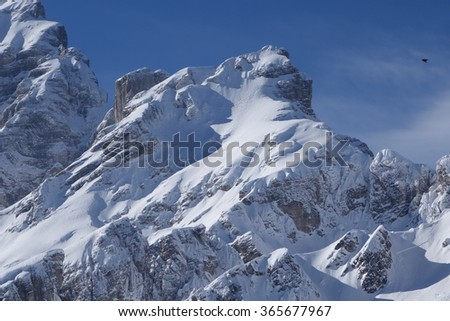 Some views of Dolomiti Alps Italy during winter time