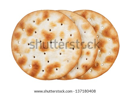 some wheat  crackers isolated on white background - stock photo