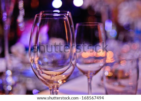 some wineglasses on a party