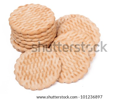 Some yummy simple biscuits over white background/Group of biscuits