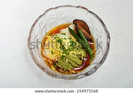 Somen - Japanese style thin wheat flour noodles - - stock photo