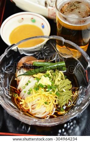 Somen - Japanese style thin wheat flour noodles - stock photo