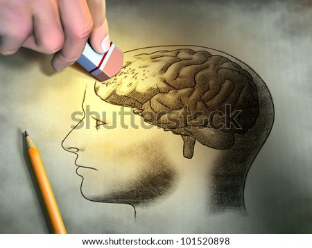 Someone is erasing a drawing of the human brain. Conceptual image relating to dementia and memory loss. Digital illustration. - stock photo