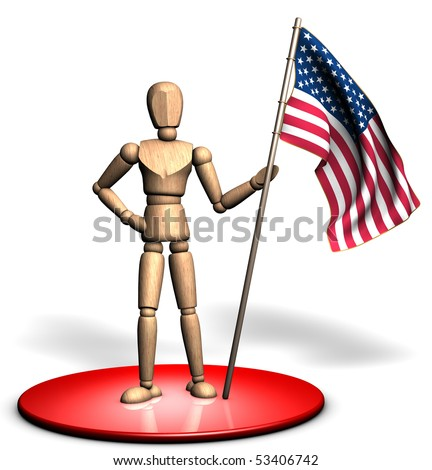 Someone is holding a big USA flag on the red stage - stock photo