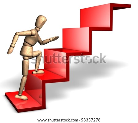 Someone is stepping upwards on the red stairs - stock photo