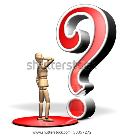 Someone is watching a big question symbol on the red stage - stock photo