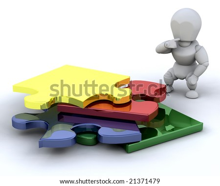 Someone stood next to an unfinished puzzle - stock photo