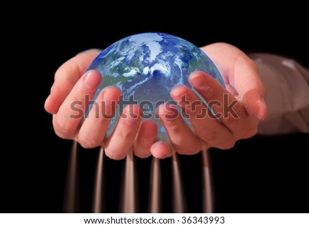 someone trying to save friable world, spilling through hands