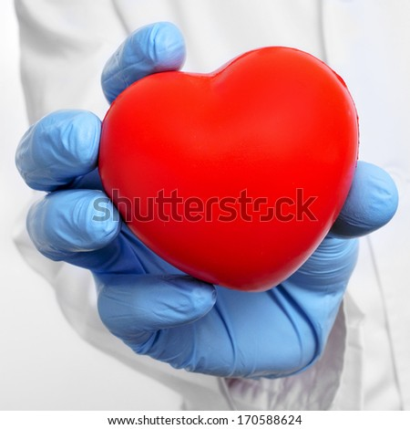 someone wearing a white coat and blue medical gloves showing a red heart - stock photo