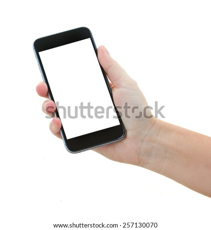 someones hand holding  modern black smartphone isolated on white background with copy space