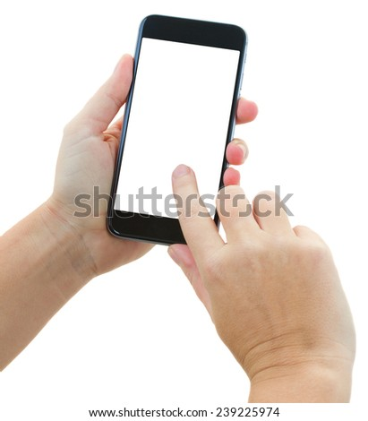 someones hands holding and touching  modern black smartphone isolated on white background with copy space - stock photo