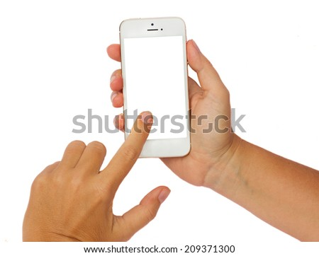 someones hands holding and touching  modern smartphone isolated on white background with copy space - stock photo