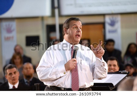 SOMERVILLE,NEW JERSEY-MARCH 10,2015:New Jersey Governor Chris Christie Conducted his 130th Town Hall Meeting at Van Derveer School on March 10,2015 in Somerville,NJ. - stock photo