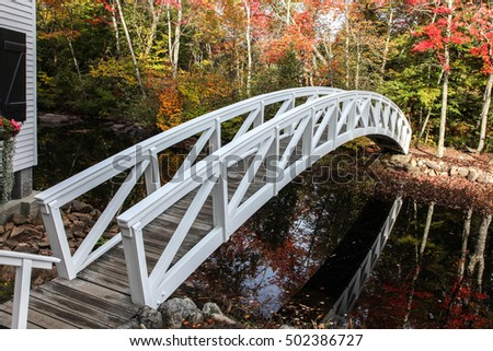 SOMESVILLE- OCTOBER 12 :  From Village of Somesville is this most photographed bridge with early morning lights during Autumn season in Somesville, USA on October 12, 2016