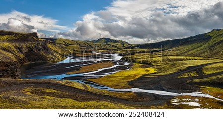 Somewhere along road F208 in the highlands of Iceland. - stock photo