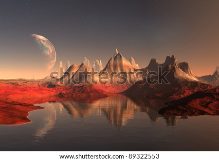 Somewhere In The Universe, alien planet, science fiction scene with mountains and a lake - stock photo