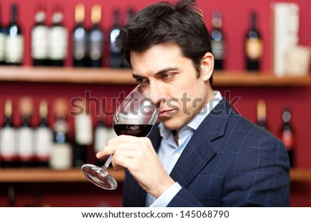 Sommelier analyzing a glass of red wine - stock photo