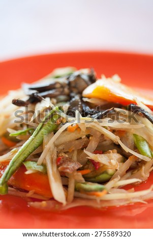 Somtam Thai food hot and spicy papaya salad with crab - stock photo