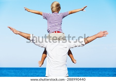 Son, fun, bonding. - stock photo