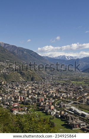 Sondrio  - is the capital of the Valtellina and in 2007 was elected to the Alpine Town of the Year  - stock photo