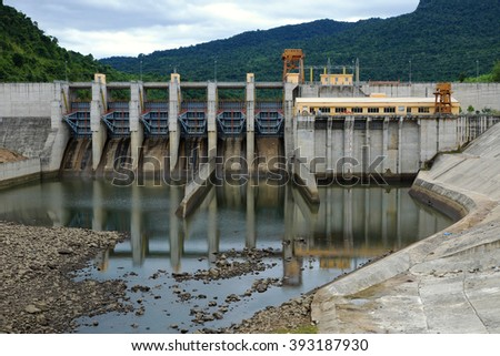 Song Bung hydroelectric plant on Ho Chi Minh trail, at Quang Nam, Viet Nam, large spillway and water reservoir to product energy for industry - stock photo