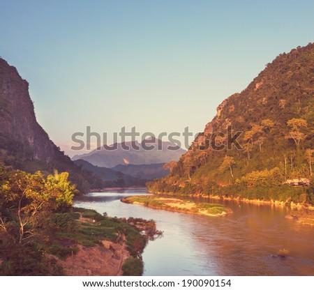 Song river at Vang Vieng, Laos - stock photo