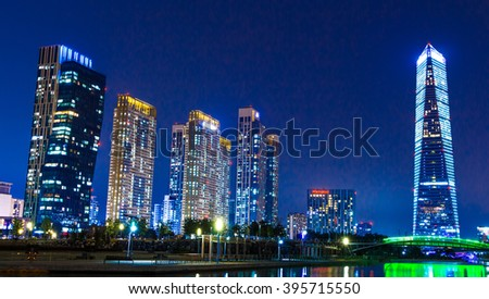 Songdo, Korea - MAR 12, 2016 :City of the Future Songdo  in night - stock photo